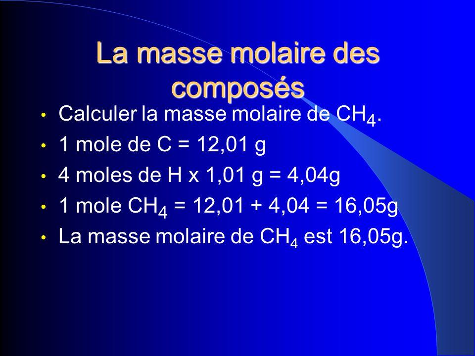 La masse molaire des composés Calculer la masse molaire de CH 4. 1 mole de C = 12,01 g 4 moles de H x 1,01 g = 4,04g 1 mole CH 4 = 12,01 + 4,04 = 16,0