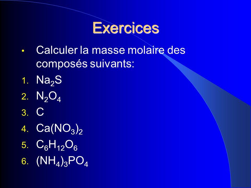 Exercices Calculer la masse molaire des composés suivants: 1. Na 2 S 2. N 2 O 4 3. C 4. Ca(NO 3 ) 2 5. C 6 H 12 O 6 6. (NH 4 ) 3 PO 4