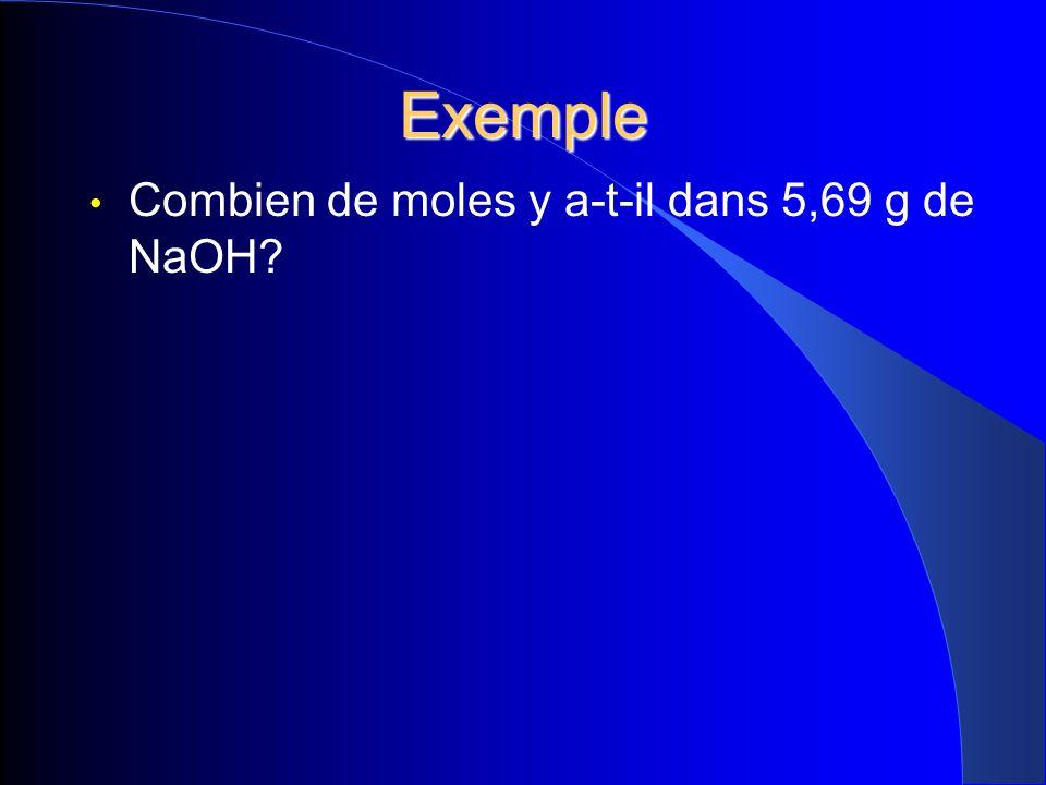 Exemple Combien de moles y a-t-il dans 5,69 g de NaOH?