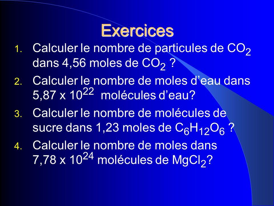 Exercices 1. Calculer le nombre de particules de CO 2 dans 4,56 moles de CO 2 ? 2. Calculer le nombre de moles deau dans 5,87 x 10 22 molécules deau?
