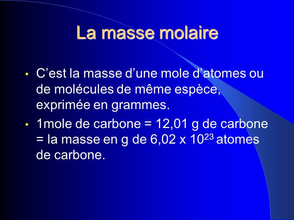 La masse molaire Cest la masse dune mole datomes ou de molécules de même espèce, exprimée en grammes. 1mole de carbone = 12,01 g de carbone = la masse