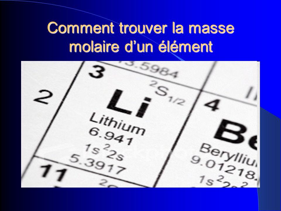 Comment trouver la masse molaire dun élément