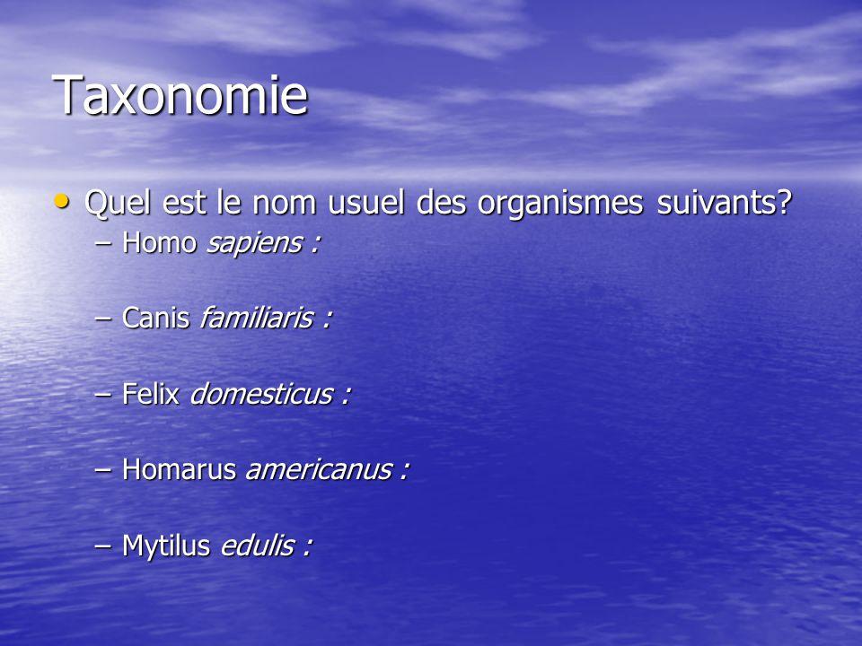 Taxonomie Quel est le nom usuel des organismes suivants? Quel est le nom usuel des organismes suivants? –Homo sapiens : –Canis familiaris : –Felix dom