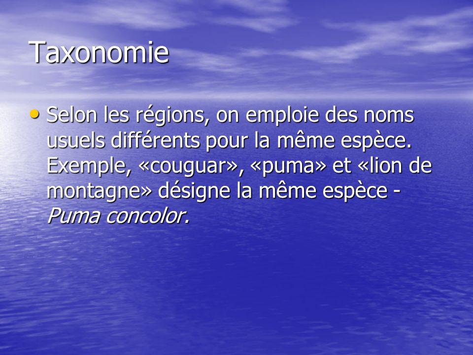 Taxonomie Selon les régions, on emploie des noms usuels différents pour la même espèce. Exemple, «couguar», «puma» et «lion de montagne» désigne la mê