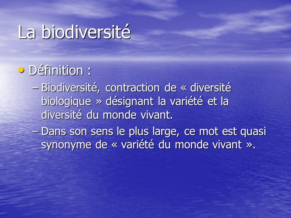 Définition : Définition : –Biodiversité, contraction de « diversité biologique » désignant la variété et la diversité du monde vivant. –Dans son sens