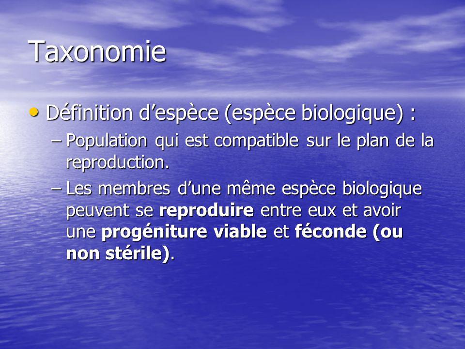 Taxonomie Définition despèce (espèce biologique) : Définition despèce (espèce biologique) : –Population qui est compatible sur le plan de la reproduct