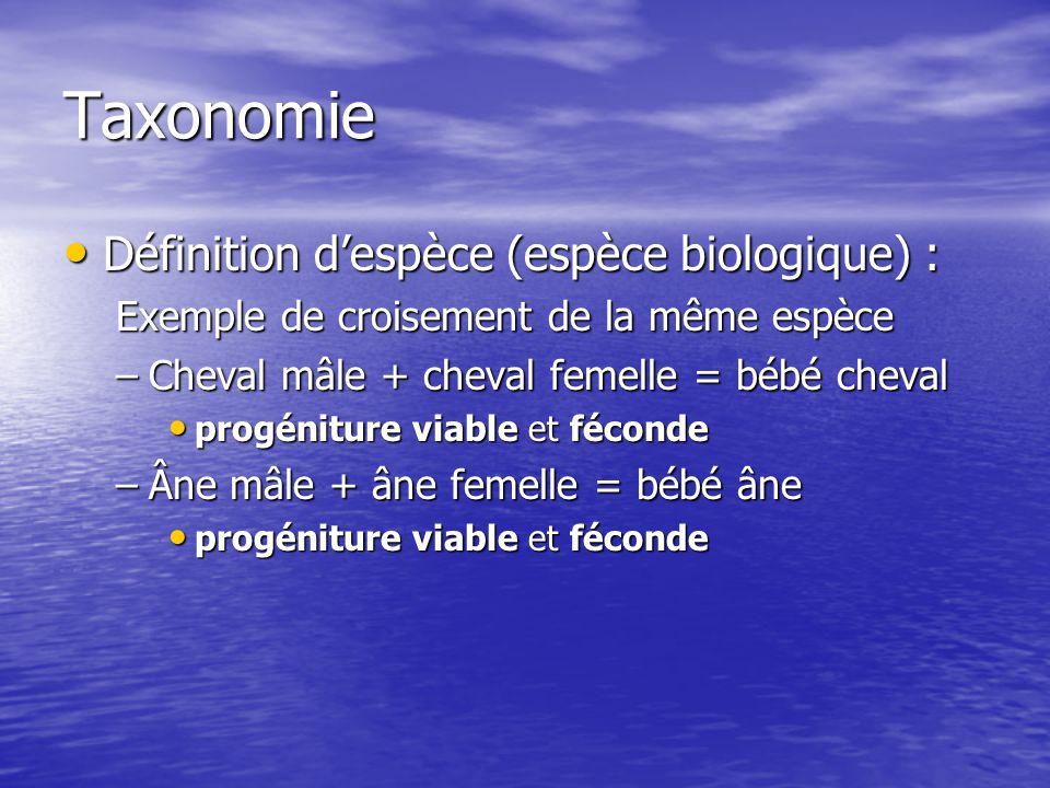 Taxonomie Définition despèce (espèce biologique) : Définition despèce (espèce biologique) : Exemple de croisement de la même espèce –Cheval mâle + che