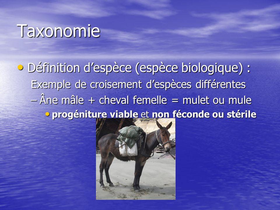 Taxonomie Définition despèce (espèce biologique) : Définition despèce (espèce biologique) : Exemple de croisement despèces différentes –Âne mâle + che