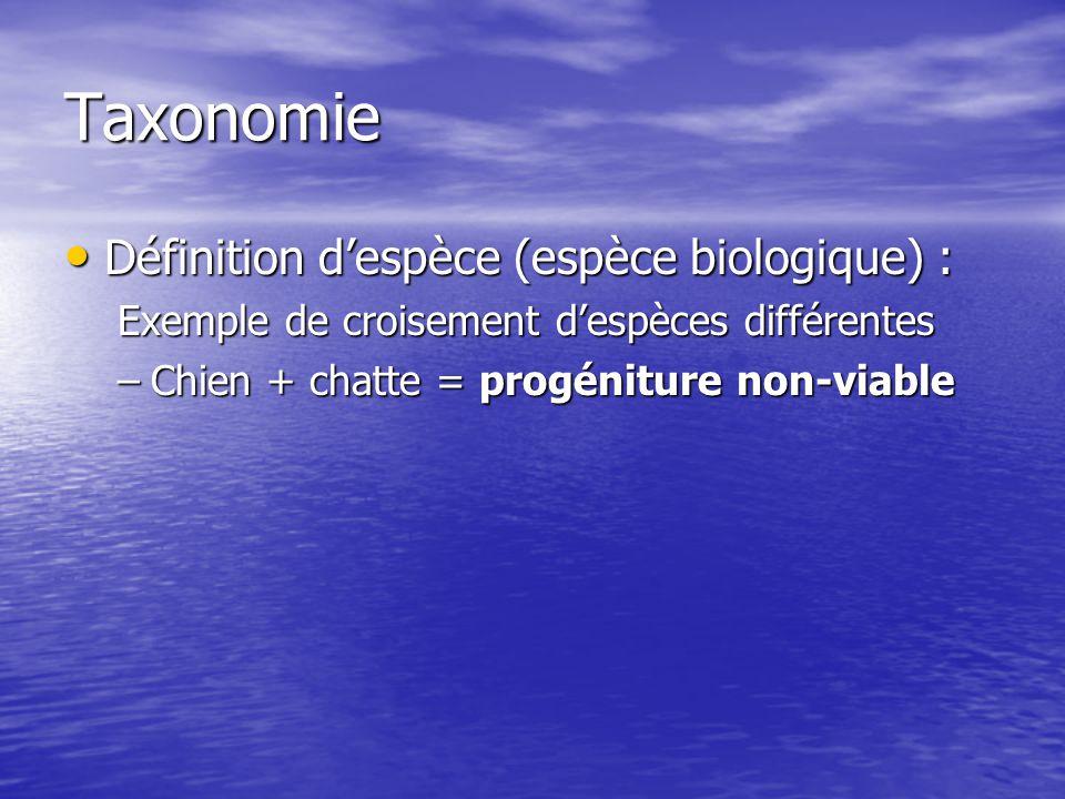 Taxonomie Définition despèce (espèce biologique) : Définition despèce (espèce biologique) : Exemple de croisement despèces différentes –Chien + chatte