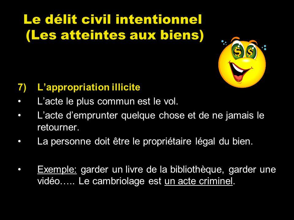 Le délit civil intentionnel (Les atteintes aux biens) 7)Lappropriation illicite Lacte le plus commun est le vol. Lacte demprunter quelque chose et de