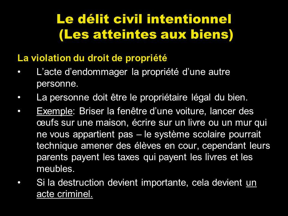 Le délit civil intentionnel (Les atteintes aux biens) La violation du droit de propriété Lacte dendommager la propriété dune autre personne. La person