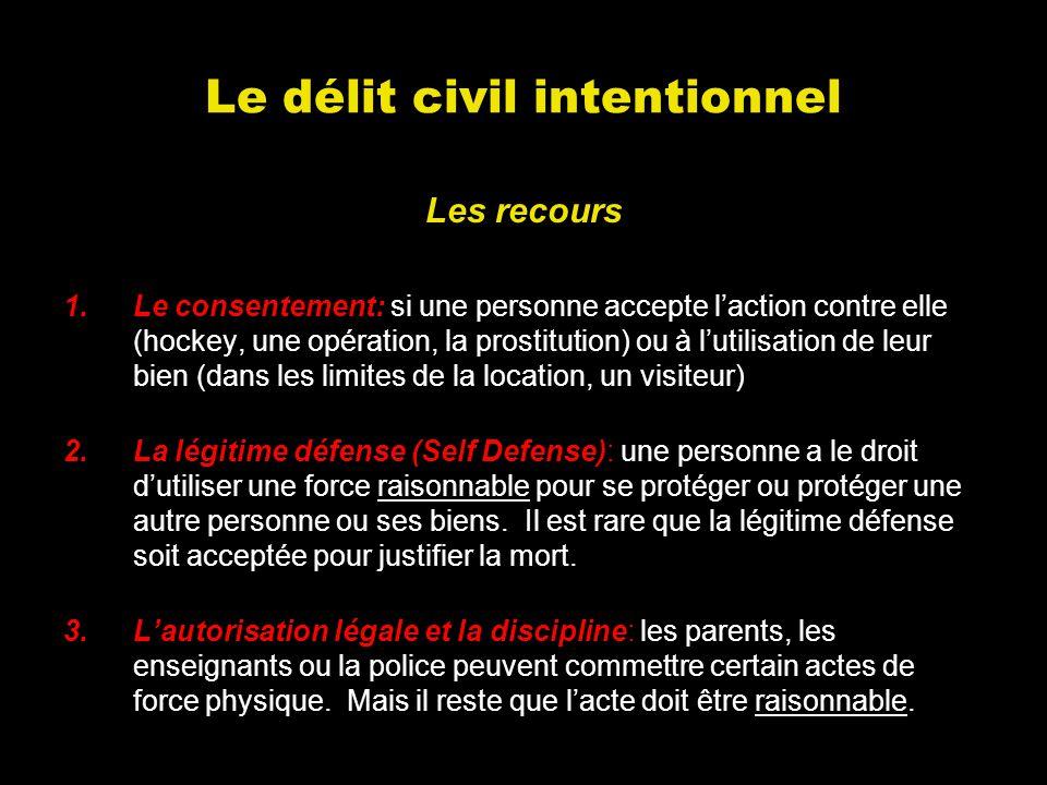 Le délit civil intentionnel Les recours 1.Le consentement: si une personne accepte laction contre elle (hockey, une opération, la prostitution) ou à l