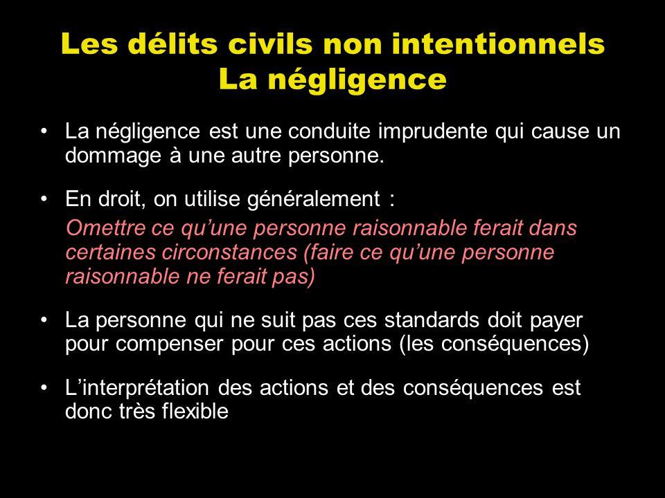 Les délits civils non intentionnels La négligence La négligence est une conduite imprudente qui cause un dommage à une autre personne. En droit, on ut