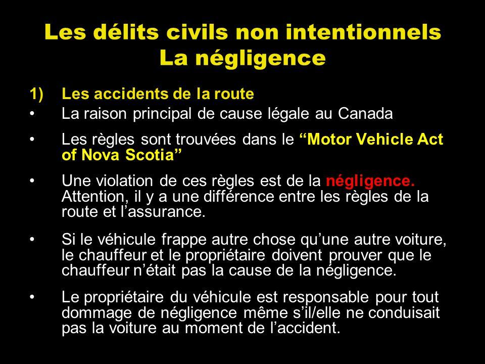 1)Les accidents de la route La raison principal de cause légale au Canada Les règles sont trouvées dans le Motor Vehicle Act of Nova Scotia Une violat