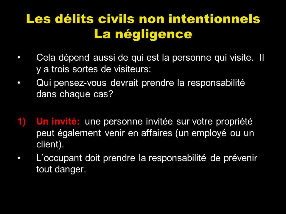 Les délits civils non intentionnels La négligence Cela dépend aussi de qui est la personne qui visite. Il y a trois sortes de visiteurs: Qui pensez-vo