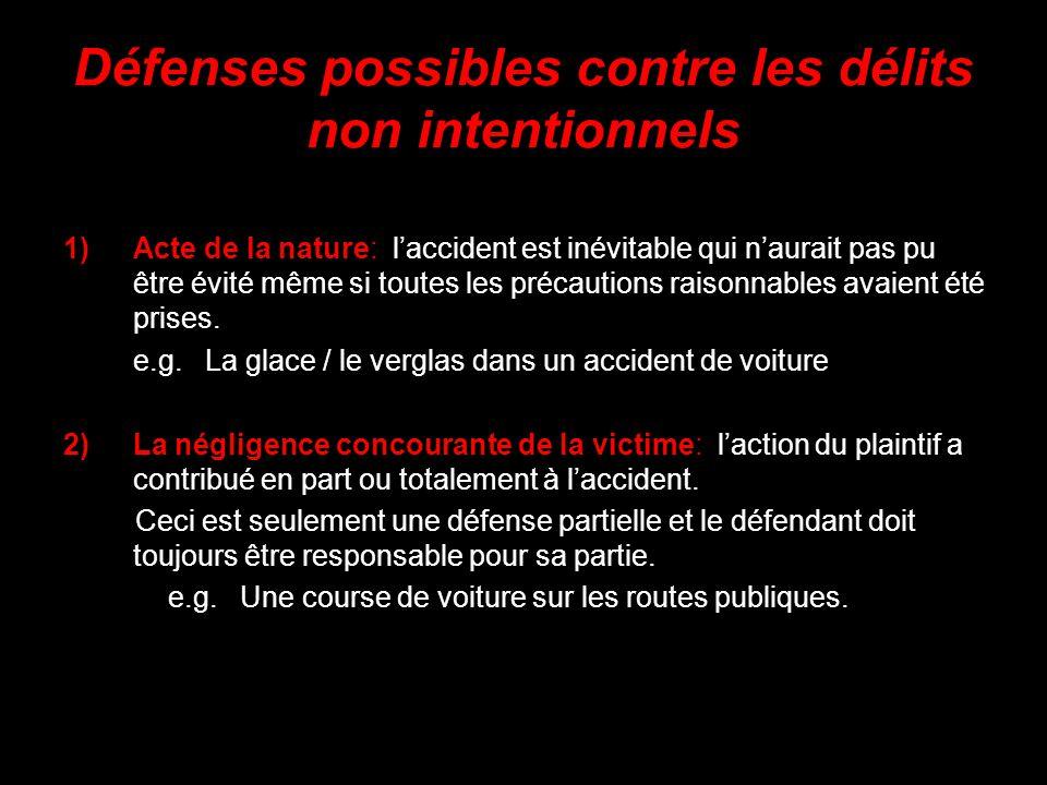 Défenses possibles contre les délits non intentionnels 1)Acte de la nature: laccident est inévitable qui naurait pas pu être évité même si toutes les