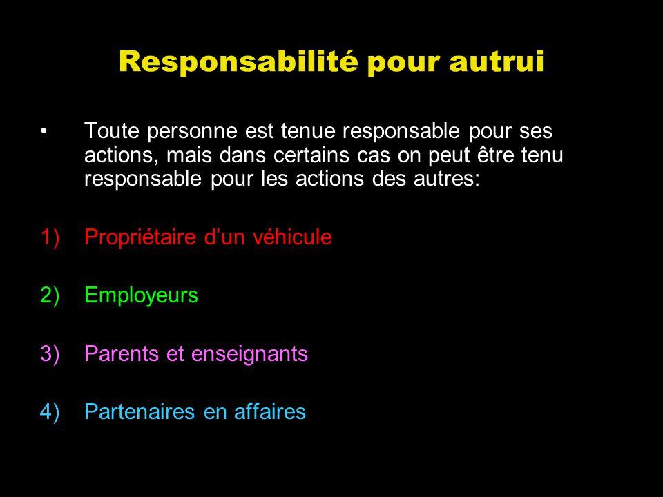 Responsabilité pour autrui Toute personne est tenue responsable pour ses actions, mais dans certains cas on peut être tenu responsable pour les action