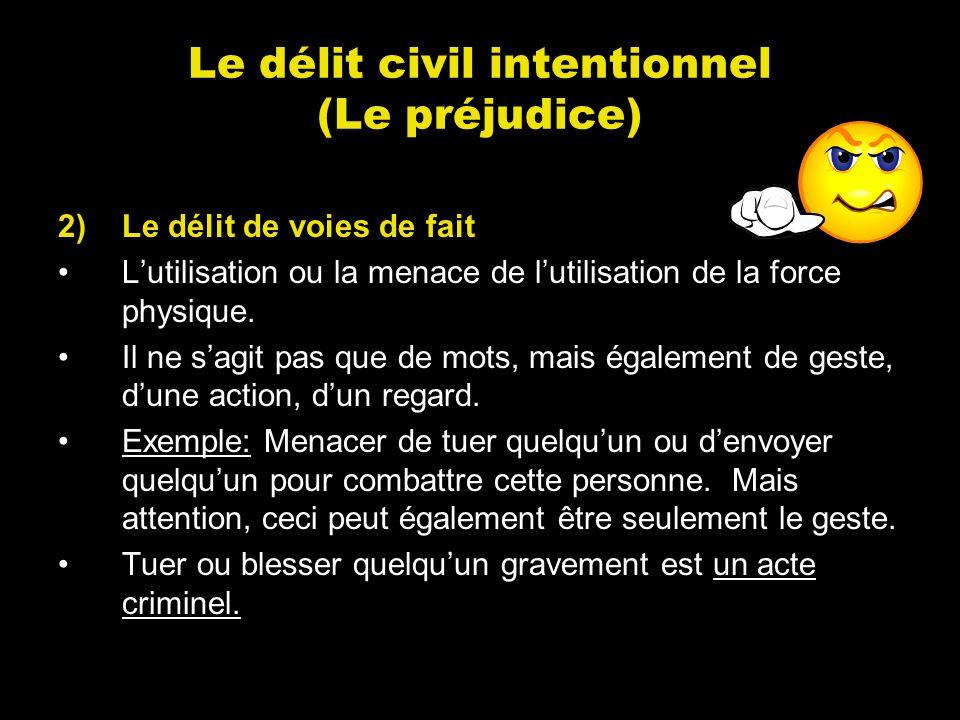 Le délit civil intentionnel (Le préjudice) 2)Le délit de voies de fait Lutilisation ou la menace de lutilisation de la force physique. Il ne sagit pas