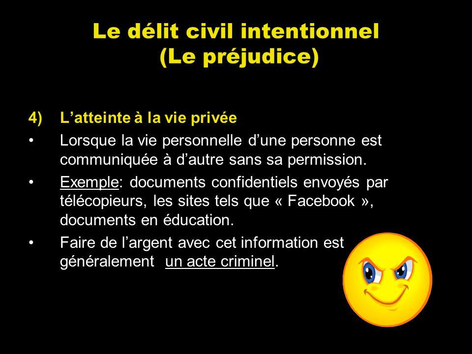 Le délit civil intentionnel (Le préjudice) 4)Latteinte à la vie privée Lorsque la vie personnelle dune personne est communiquée à dautre sans sa permi