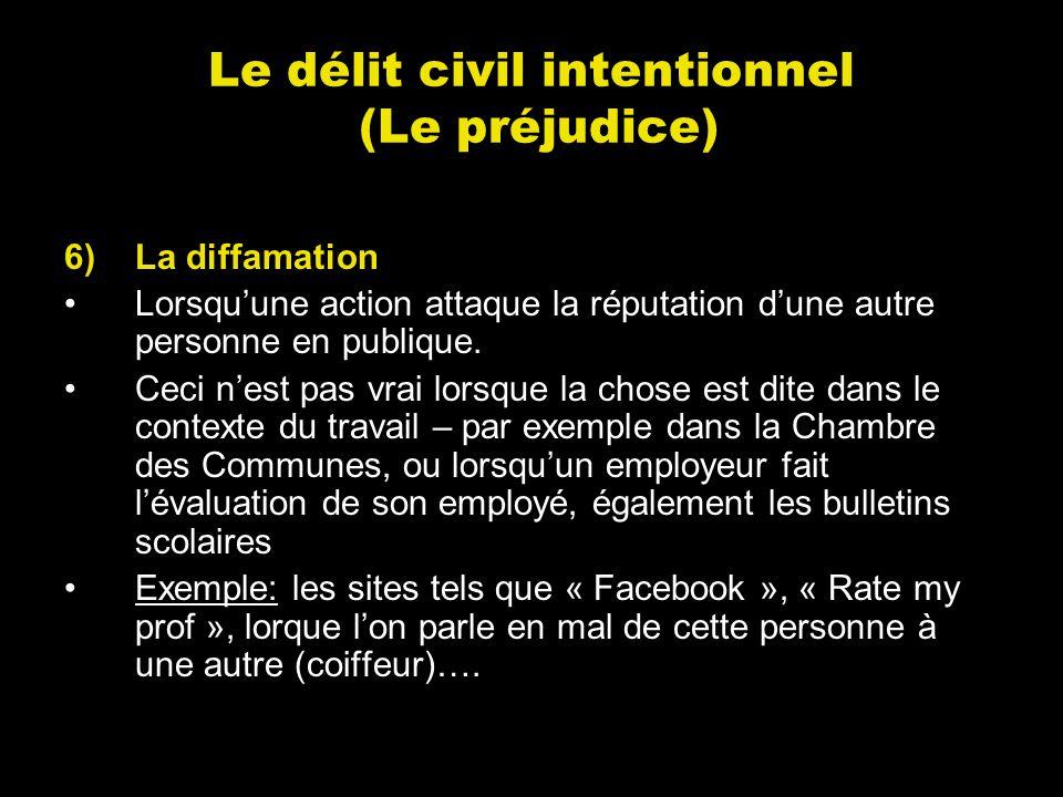 Le délit civil intentionnel (Le préjudice) 6)La diffamation Lorsquune action attaque la réputation dune autre personne en publique. Ceci nest pas vrai