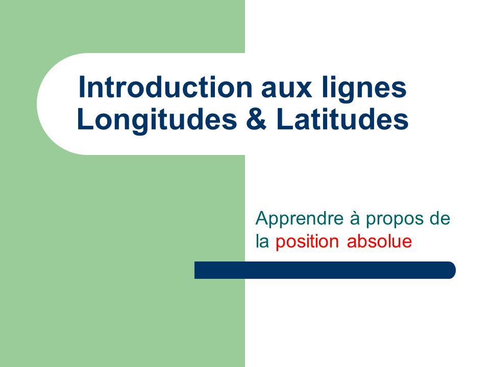Introduction aux lignes Longitudes & Latitudes Apprendre à propos de la position absolue
