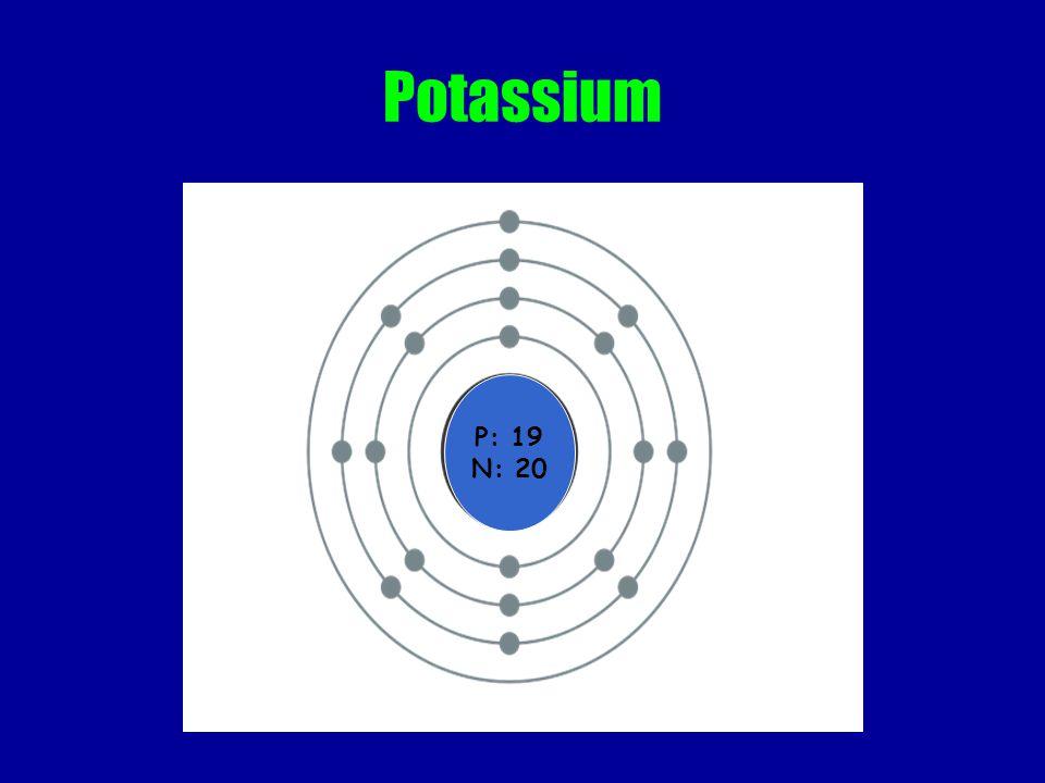 Potassium P: 19 N: 20
