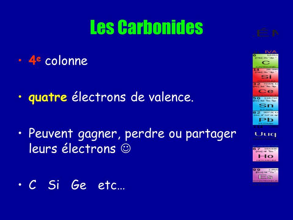 Les Carbonides 4 e colonne quatre électrons de valence. Peuvent gagner, perdre ou partager leurs électrons C Si Ge etc…