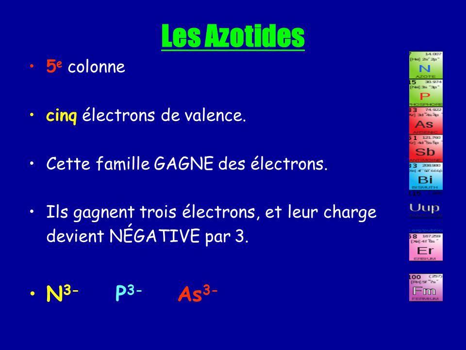 Les Azotides 5 e colonne cinq électrons de valence. Cette famille GAGNE des électrons. Ils gagnent trois électrons, et leur charge devient NÉGATIVE pa