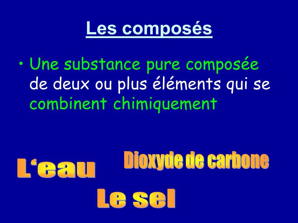 Les composés Une substance pure composée de deux ou plus éléments qui se combinent chimiquement
