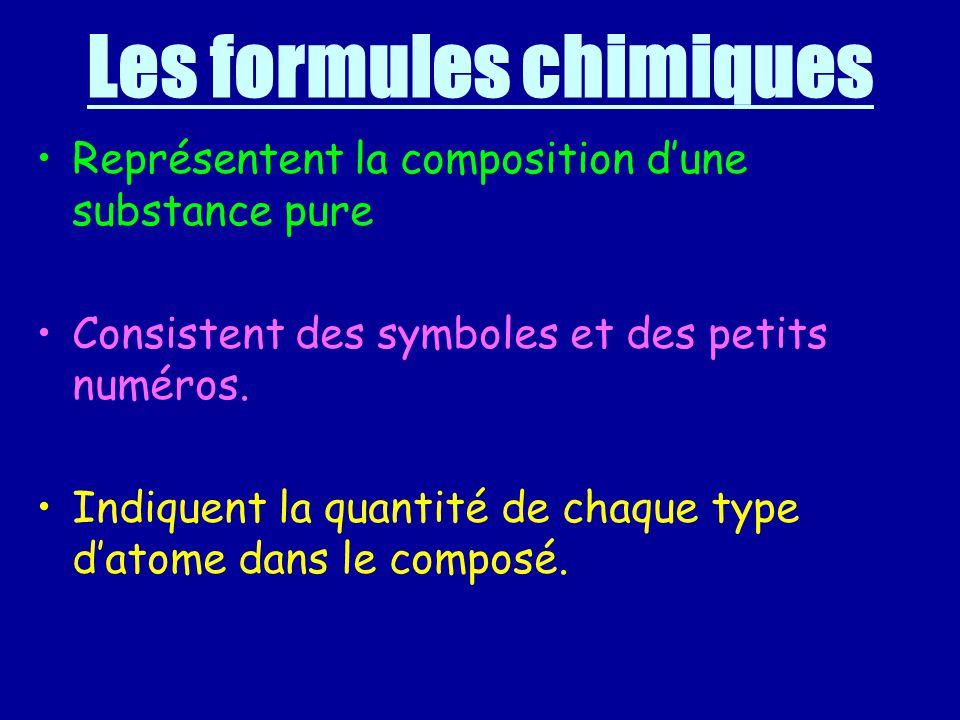 Les formules chimiques Représentent la composition dune substance pure Consistent des symboles et des petits numéros. Indiquent la quantité de chaque