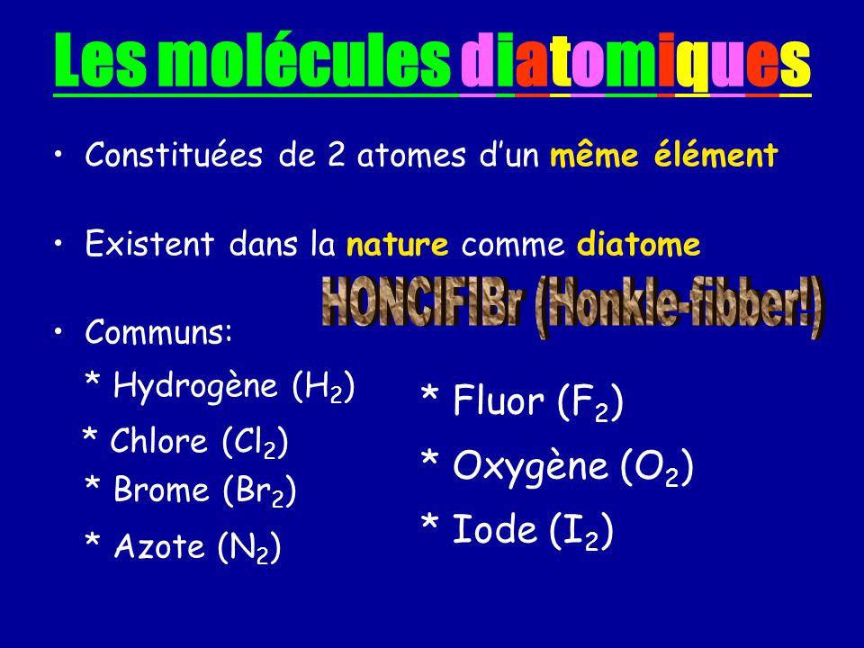 Les molécules diatomiques Constituées de 2 atomes dun même élément Existent dans la nature comme diatome Communs: * Hydrogène (H 2 ) * Chlore (Cl 2 )