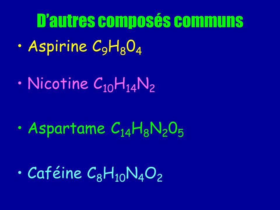 Dautres composés communs Aspirine C 9 H 8 0 4 Nicotine C 10 H 14 N 2 Aspartame C 14 H 8 N 2 0 5 Caféine C 8 H 10 N 4 O 2