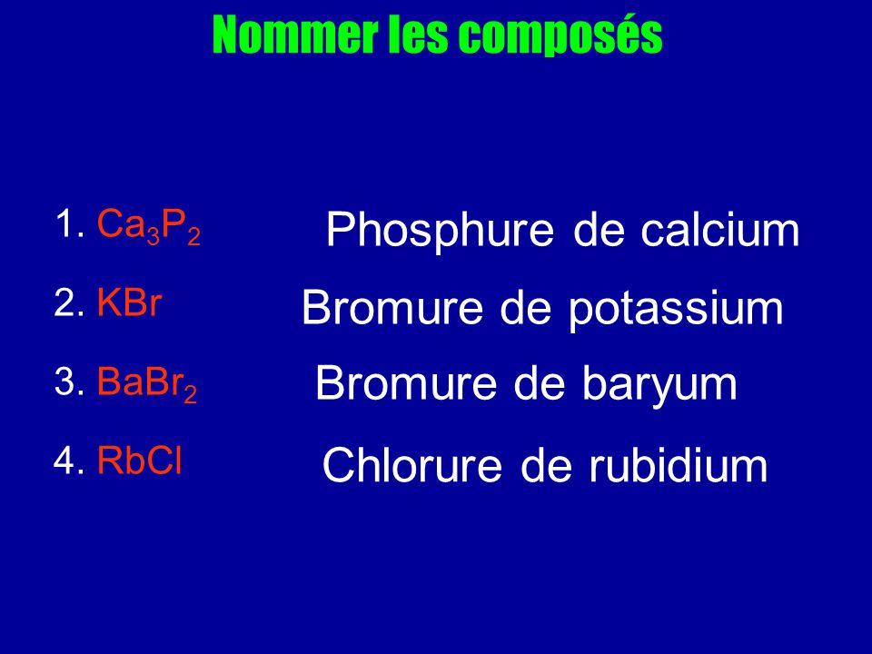 Nommer les composés 1. Ca 3 P 2 2. KBr 3. BaBr 2 4. RbCl Phosphure de calcium Bromure de potassium Bromure de baryum Chlorure de rubidium