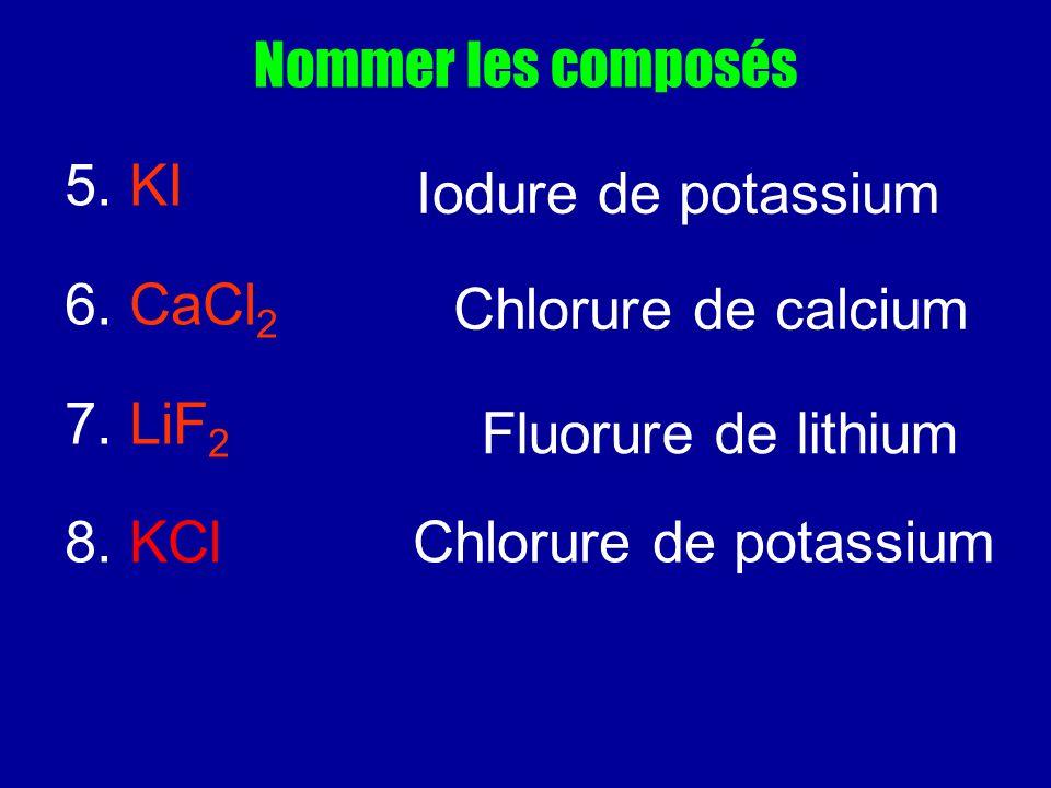 Nommer les composés 5. KI 6. CaCl 2 7. LiF 2 8. KCl Chlorure de potassium Iodure de potassium Chlorure de calcium Fluorure de lithium