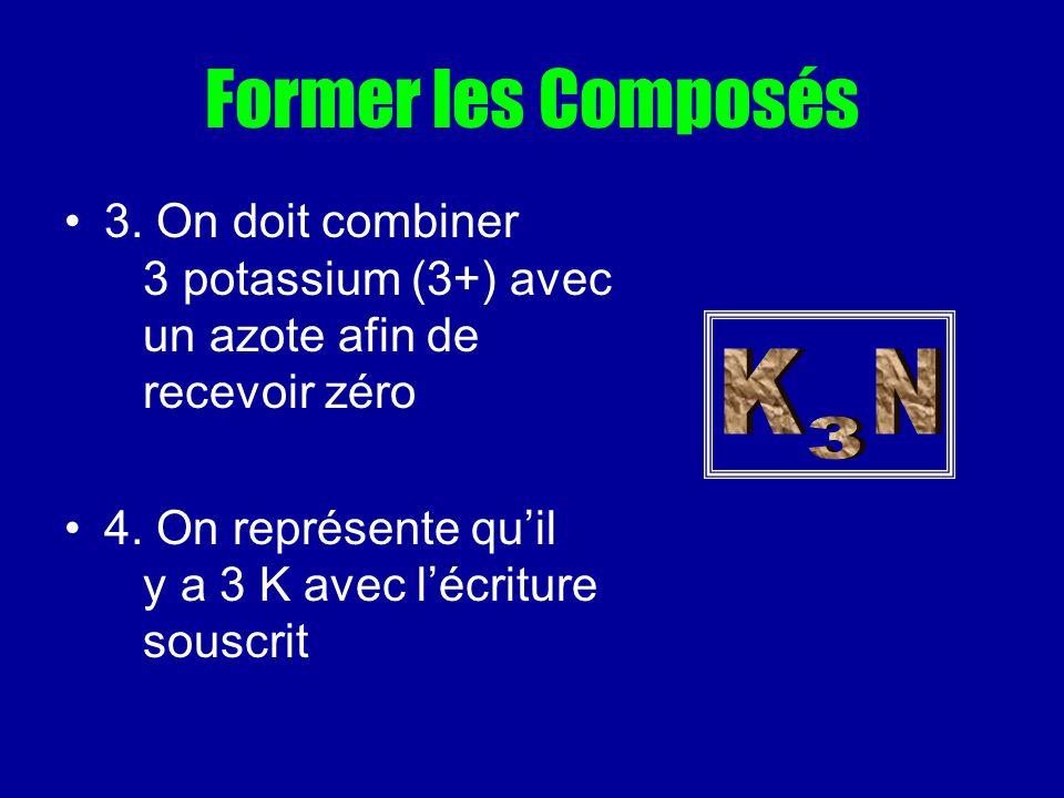 Former les Composés 3. On doit combiner 3 potassium (3+) avec un azote afin de recevoir zéro 4. On représente quil y a 3 K avec lécriture souscrit