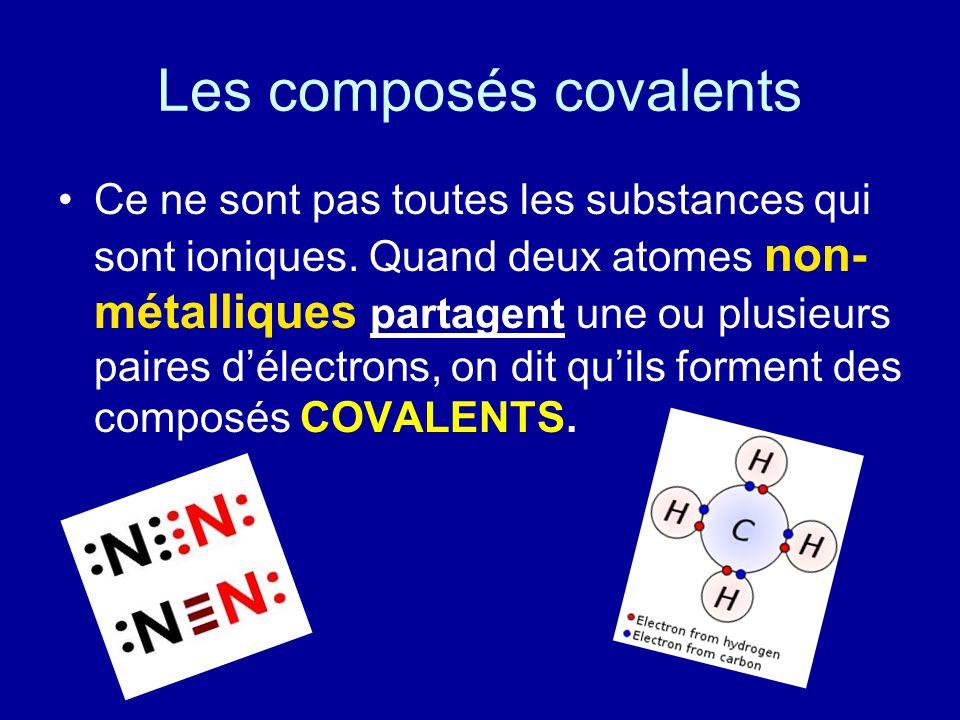 Les composés covalents Ce ne sont pas toutes les substances qui sont ioniques. Quand deux atomes non- métalliques partagent une ou plusieurs paires dé