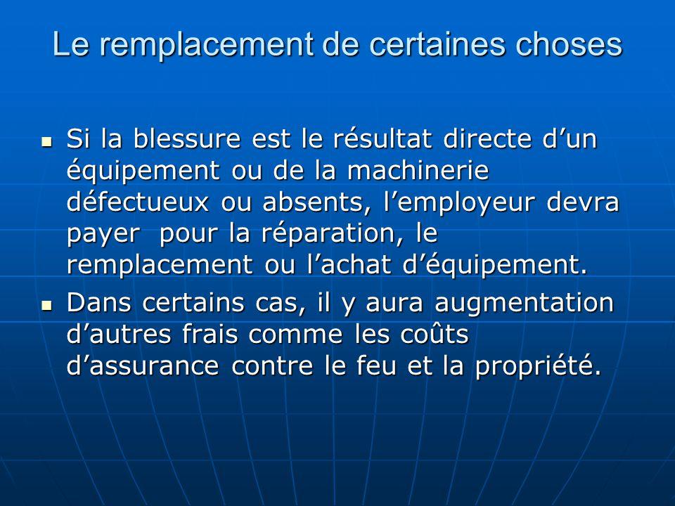 Le remplacement de certaines choses Si la blessure est le résultat directe dun équipement ou de la machinerie défectueux ou absents, lemployeur devra payer pour la réparation, le remplacement ou lachat déquipement.