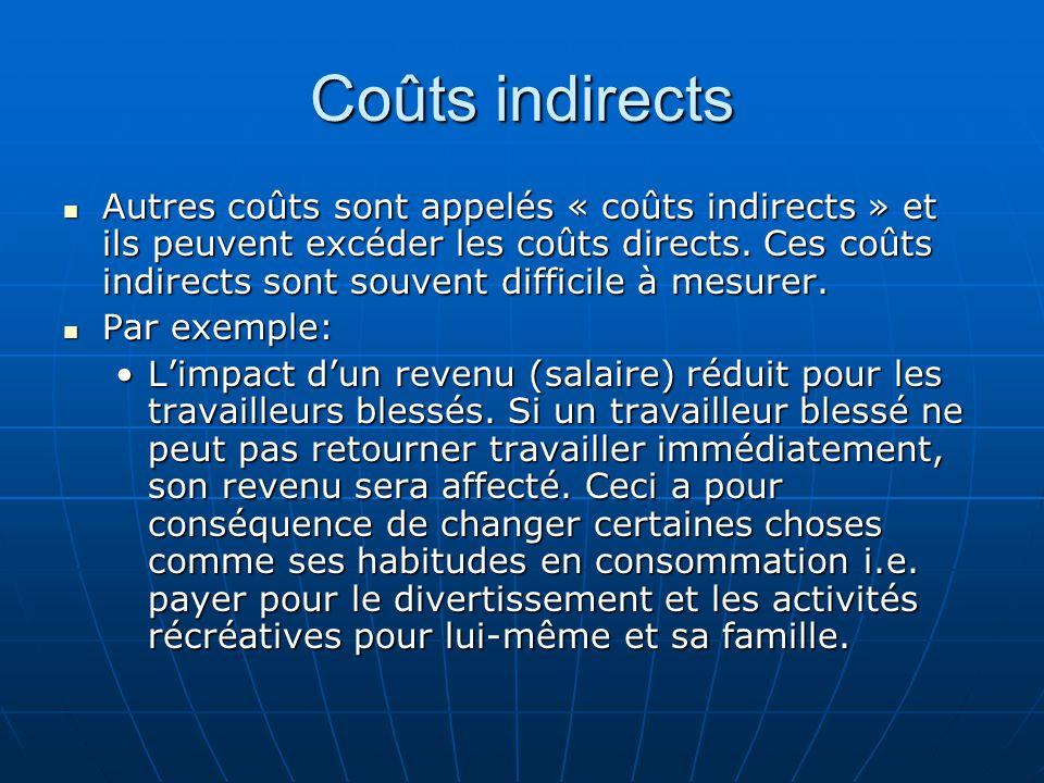Coûts indirects Autres coûts sont appelés « coûts indirects » et ils peuvent excéder les coûts directs.
