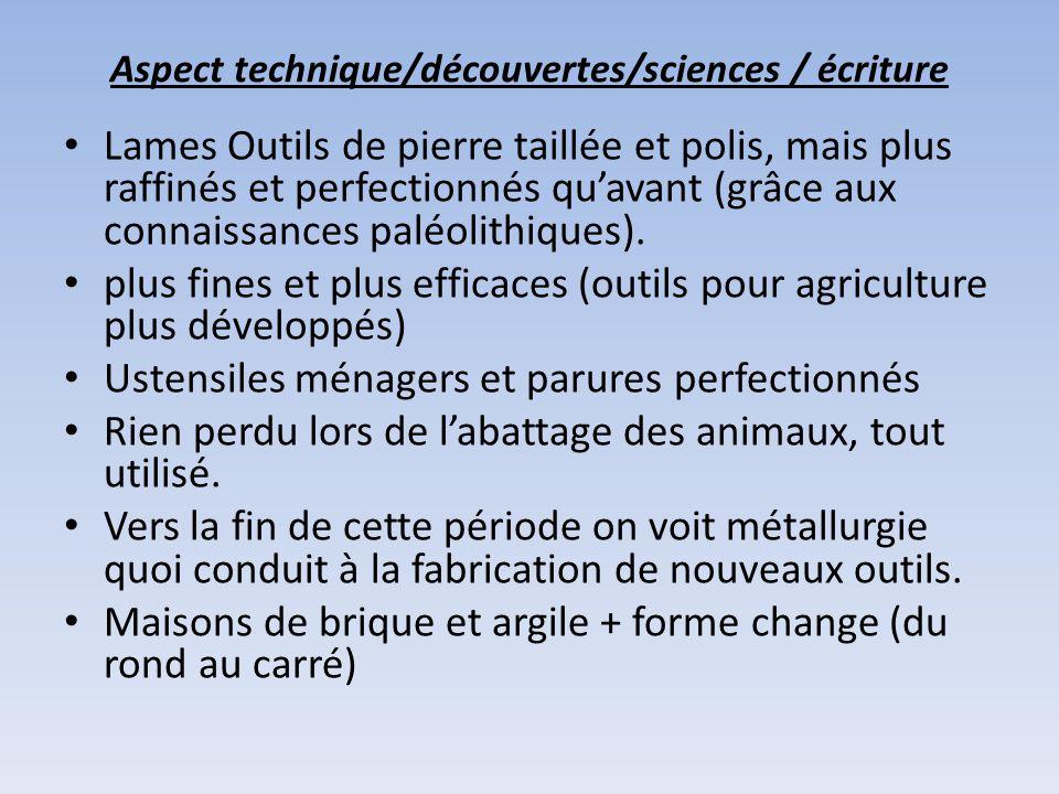 Aspect technique/découvertes/sciences / écriture Lames Outils de pierre taillée et polis, mais plus raffinés et perfectionnés quavant (grâce aux connaissances paléolithiques).