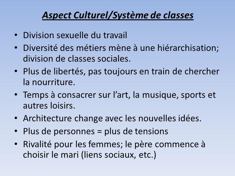 Aspect Culturel/Système de classes Division sexuelle du travail Diversité des métiers mène à une hiérarchisation; division de classes sociales. Plus d