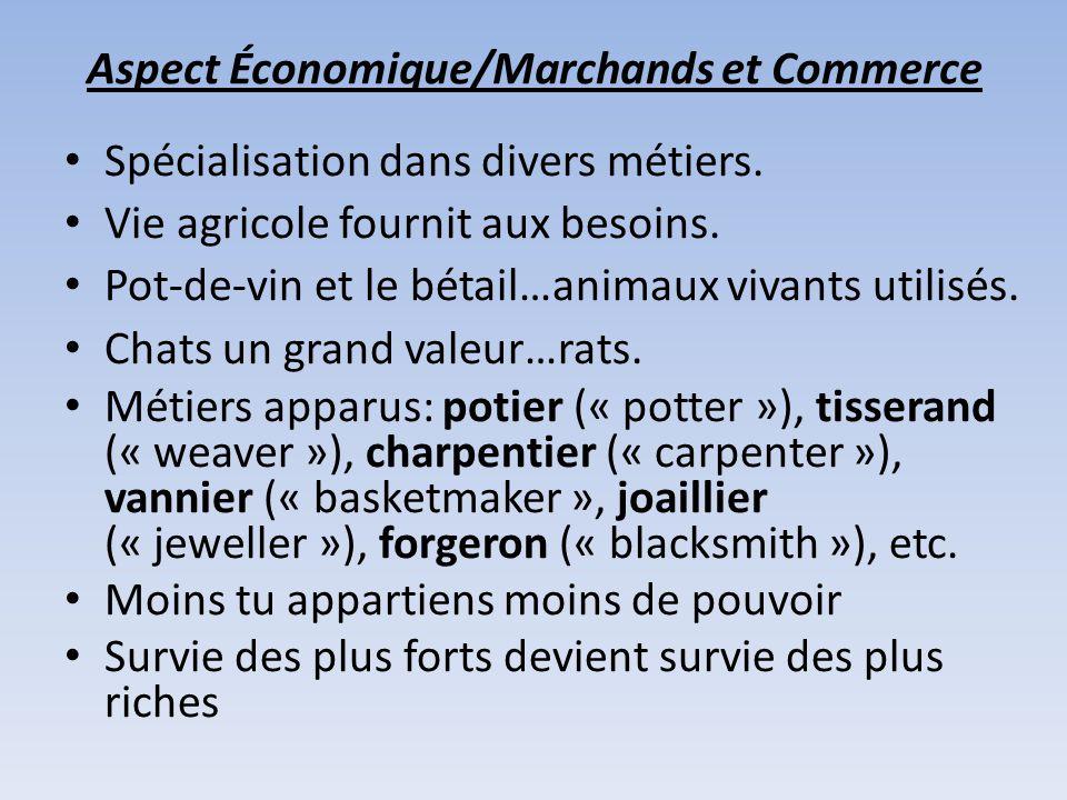 Aspect Économique/Marchands et Commerce Spécialisation dans divers métiers.