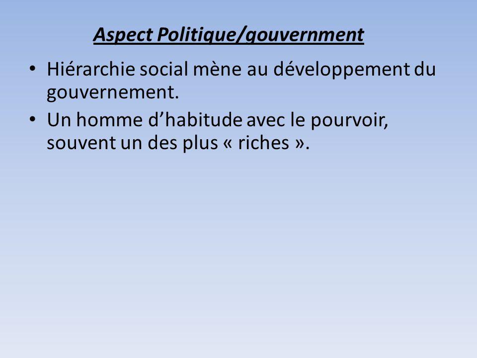 Aspect Politique/gouvernment Hiérarchie social mène au développement du gouvernement. Un homme dhabitude avec le pourvoir, souvent un des plus « riche