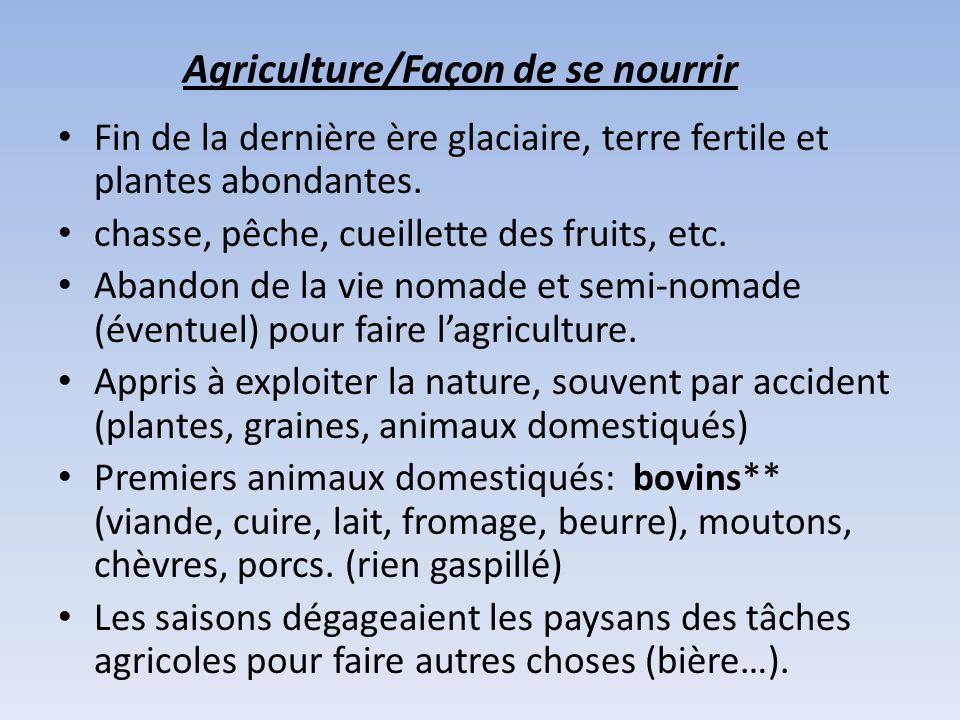 Agriculture/Façon de se nourrir Fin de la dernière ère glaciaire, terre fertile et plantes abondantes. chasse, pêche, cueillette des fruits, etc. Aban