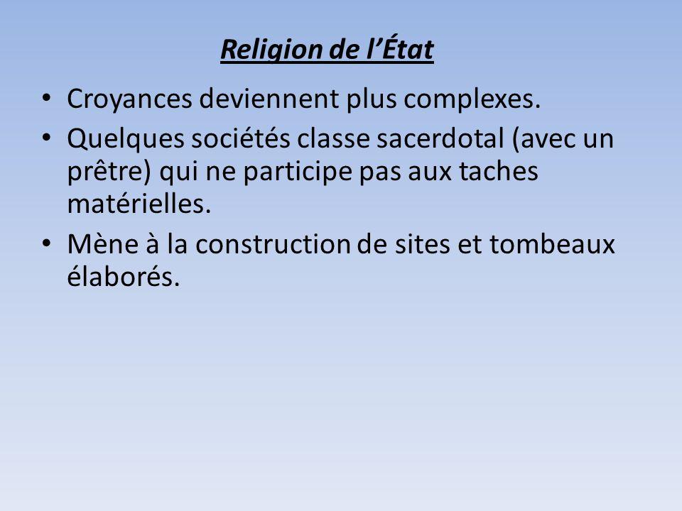 Religion de lÉtat Croyances deviennent plus complexes. Quelques sociétés classe sacerdotal (avec un prêtre) qui ne participe pas aux taches matérielle