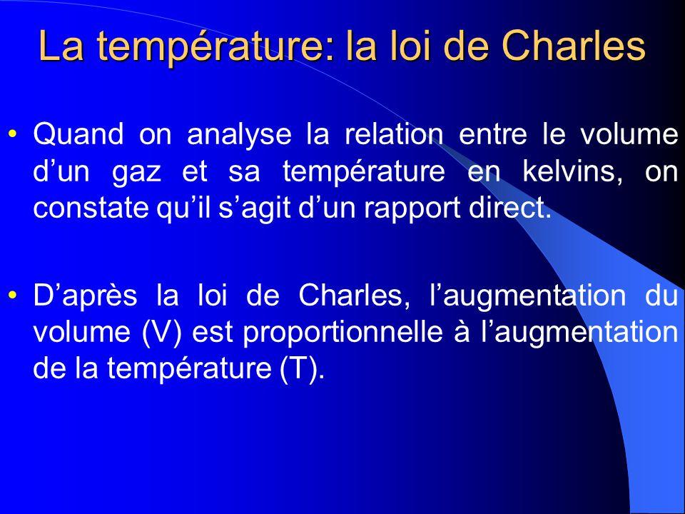 La température : la loi de Charles Charles 1787 Gay-Lussac 1802 V α T V = b T