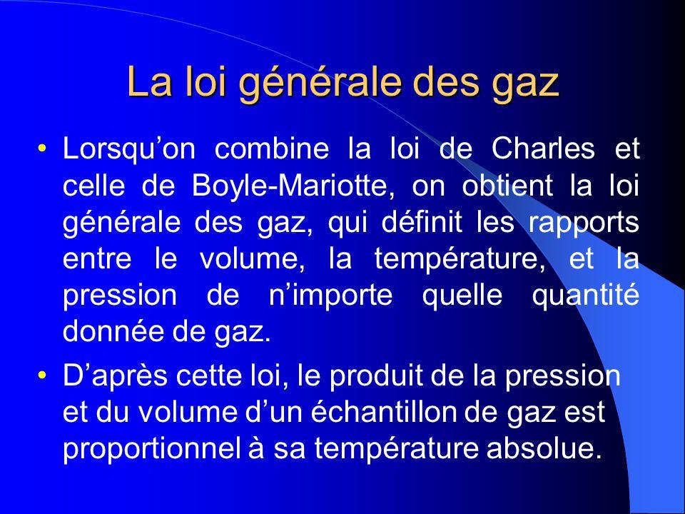 Exercices a)On recueille un gaz ayant un volume de 225 cm 3 à 58 o C. Déterminer le volume quoccupera cet échantillon de gaz à 0 o C. (On suppose que