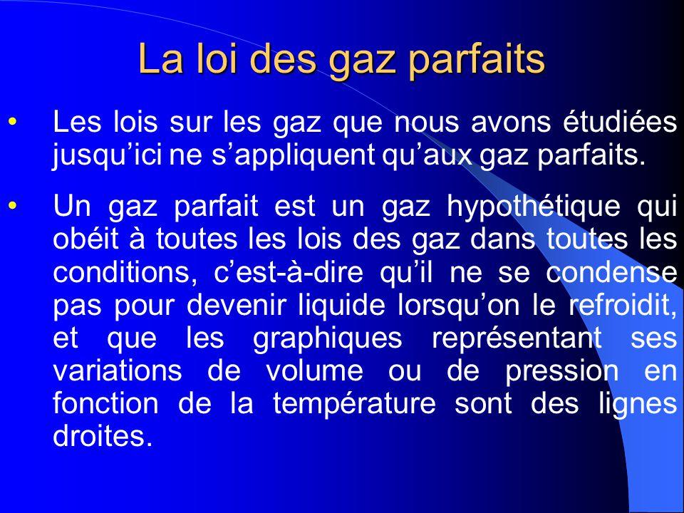 Volume des gaz à TPN Température et Pression Normales (TPN) Température standard: 0 o C ou 273 K Pression standard: 760 mm de Hg= 1 atm= 101,3 kPa Volume dune mole de gaz: 22,4 L Température Ambiante et Pression Normale (TAPN) Température: 25 o C ou 298 K Pression: 100 kPa Volume dune mole: 24,5L