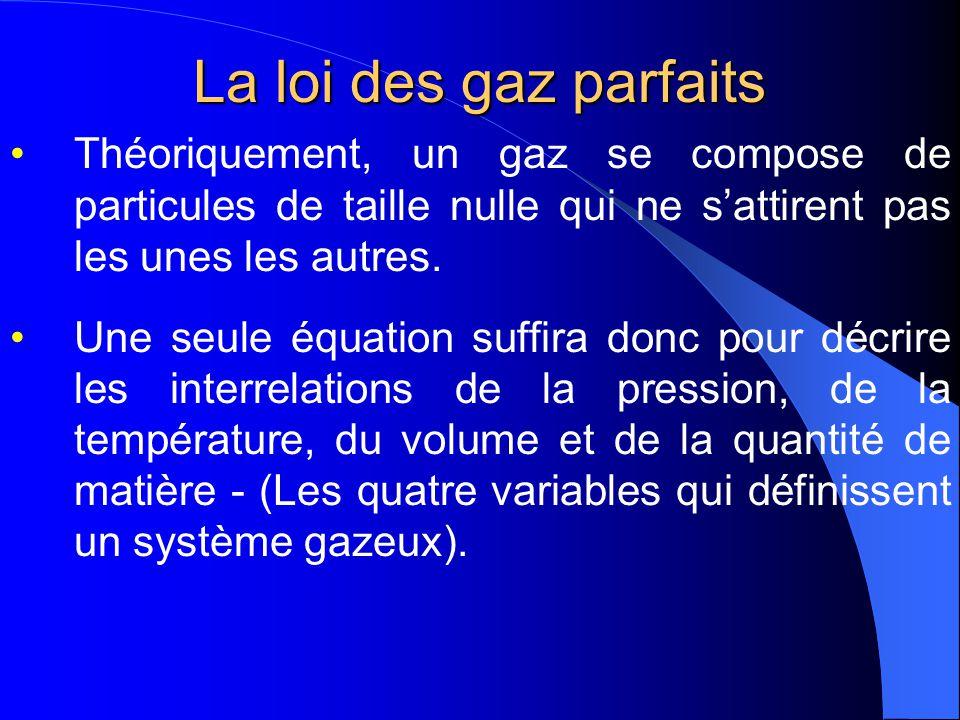 La loi des gaz parfaits Les lois sur les gaz que nous avons étudiées jusquici ne sappliquent quaux gaz parfaits. Un gaz parfait est un gaz hypothétiqu