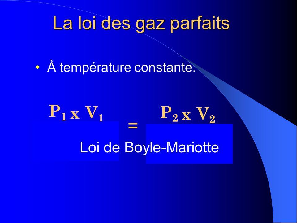 La loi des gaz parfaits Théoriquement, un gaz se compose de particules de taille nulle qui ne sattirent pas les unes les autres. Une seule équation su