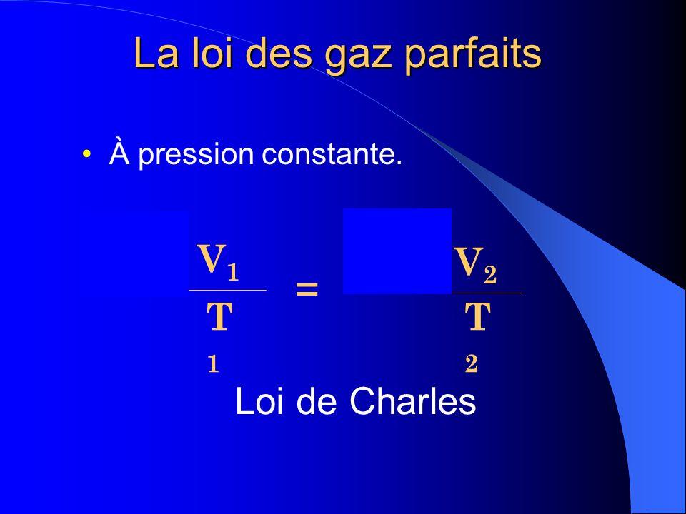 P1P1 V1V1 T1T1 x = P2P2 V2V2 T2T2 x Loi de Boyle-Mariotte À température constante. La loi des gaz parfaits